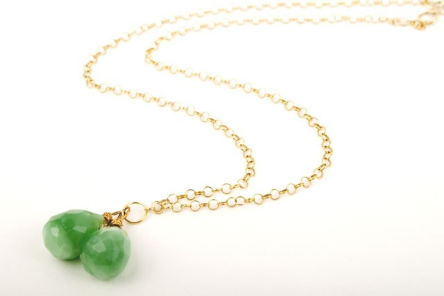 Apple Sour Gem Drop Quartz Necklace
