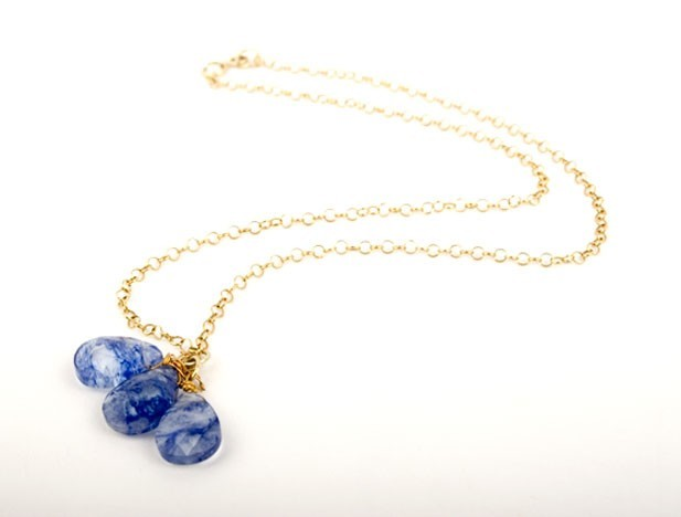 Blueberry Tanzanite Quartz Gem Drop Necklace