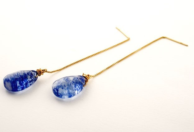 Blueberry Gem Drop Earrings