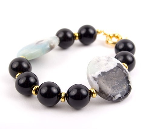Cannonball Mint Oynx Amazonite Bracelet
