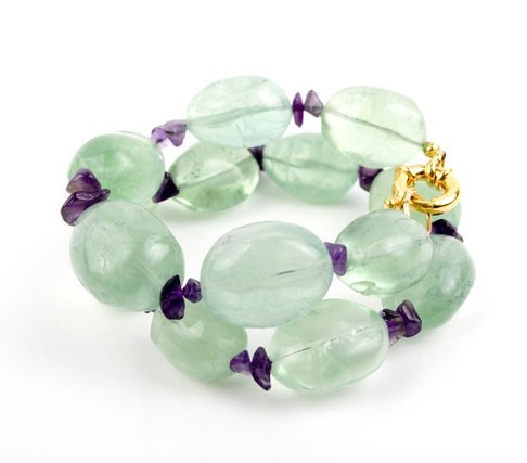 Lime Crush Double Wrap Flourite Nugget Bracelet