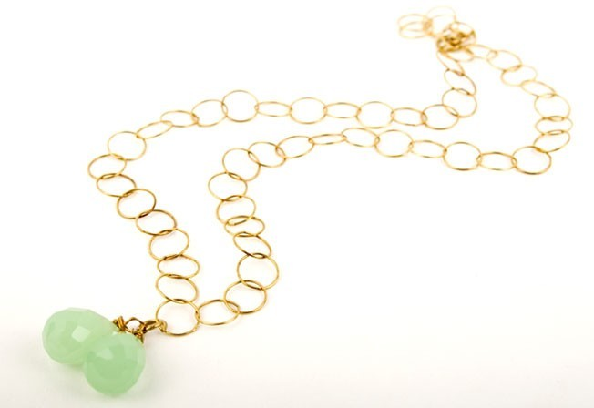 Pear Gem Drop Chalcedony Necklace