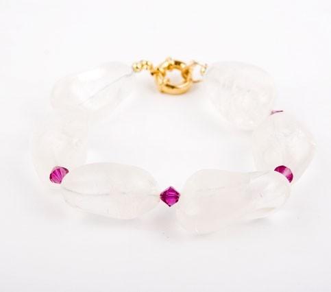 Sugar Frost Crystal Quartz Nugget Bracelet