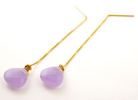Violet Cream Gem Drop Earrings