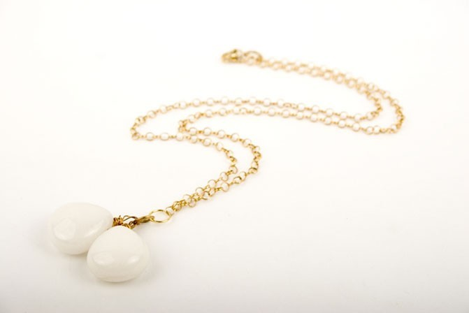 White Jade Mint Drop Necklace